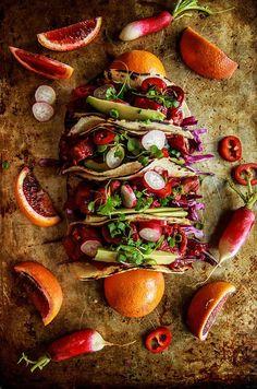 Blood Orange Honey Ginger Glazed Pork Tacos