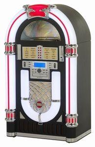 Ricatech RR2000 XXL Retro LED Jukebox Black. Deze jukebox wordt compleet geleverd met een CD-speler, digitale AM/FM-radio, 3-toeren platenspeler welke geschikt is voor uw 33-, 45- en 78-toeren platen, USB-poort en SD-kaartsleuf. Met de opnamefunctie kunt u met 'één druk op de knop' rechtstreeks uw vinylplaten, CD's en SD-kaarten op een USB-stick vastleggen. Met de opnamefunctie kunt u tevens bestanden van USB naar SD kopiëren.