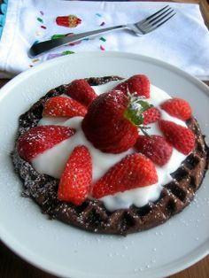 chocolate waffles with yogurt and strawberries -- a perfect birthday breakfast!