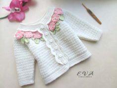 Crochet skirt and blouse for girl Crochet Baby Jacket, Crochet Baby Sweaters, Baby Girl Crochet, Crochet Baby Clothes, Crochet Cardigan, Knit Crochet, Baby Cardigan, Baby Pullover, Knitting For Kids