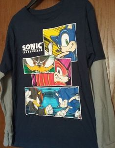 Sonic the Hedgehog t-shirt Size 10-12 L 14-16 XL New Childs w Beanie