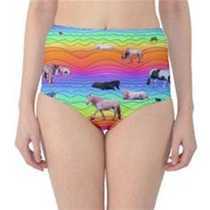 Horses In Rainbow High Waist Bikini Bottoms by CosmicEsoteric