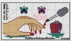 Manicure Pedicure Ponto Cruz 23 Ideas For 2019 Mini Cross Stitch, Cross Stitch Charts, Cross Stitch Patterns, Cross Stitching, Cross Stitch Embroidery, Homemade Pedicure, Cute Pedicure Designs, Cute Pedicures, Manicure And Pedicure