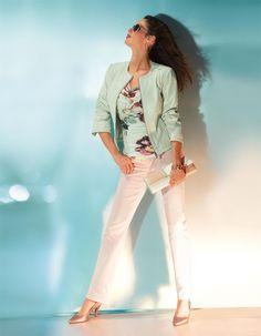 Schmale Damenjeans in der Farbe perlmutt - gold - im MADELEINE Mode Onlineshop
