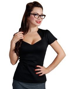 Inked Boutique - Sophia Top Black Shirt Retro Vintage Inspired Rockabilly Pinup Clothing (Available in multiple colors!) www.inkedboutique.com