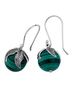 This Malachite & Sterling Silver Leaf Drop Earrings is perfect! #zulilyfinds