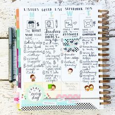 yespleaseplanning: Last week's solution to #listersgottalist. I took my #inkwellpressplanner with me on a family visit, and journaled and doodled while we chatted. I added the stickers and washi at home -- in private, cause let's be real, they don't *get* me with the stickers ). #listersgonnalist