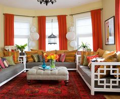 Bright Accessories in living room adding color and personality.