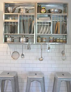 Stainless steel plate racks hung side by side The Plate Rack & stainless steel plate rack | tiny kitchen | Pinterest | Middle ...