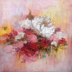 Square floral 2 Painting by Heidi Shedlock Africa Painting, Original Paintings, Original Art, Modern Impressionism, Floral Paintings, Pink Bouquet, Wood Square, Abstract Expressionism Art, Painting Edges