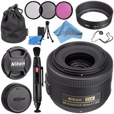 Nikon AF-S DX NIKKOR 35mm f/1.8G Lens 2183 + 52mm 3 Piece Filter Kit + Lens Pen Cleaner + Fibercloth + Lens Capkeeper + Lens Cleaning Kit Bundle