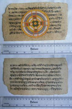 Original Antique Old Manuscript Jainism Cosmology New Hand Painting Rare #630