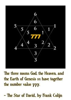 The three nouns God, the Heaven and the Earth of Genesis.11 have together the number value 777. - The Star of David., by Frank Colijn, Memb