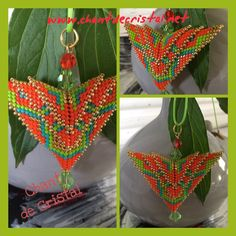 pendentif Phoenix de Karen Long Seed Bead Crafts, Seed Bead Projects, Seed Bead Jewelry, Beaded Jewelry, Beading Techniques, Beading Tutorials, Peyote Patterns, Beading Patterns, Tejidos