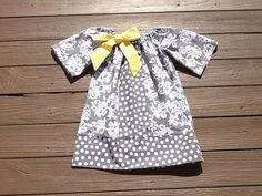 Girls Little Peasant Dress with yellow fabric bow detail. Grey damask & polka dot. Custom children's clothing By EverythingSorella