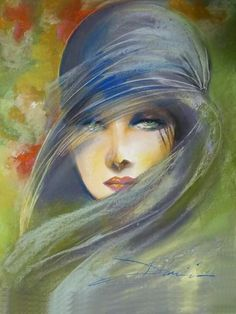 "Miraclepooh: ""art by damian tirado "" watercolor in 2019 pain Art Deco Paintings, Fine Art, Portrait Art, Portraits, Beautiful Paintings, Painting Inspiration, Female Art, Painting & Drawing, Watercolor Art"