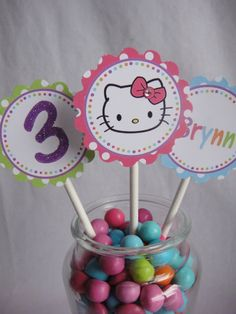 Hello Kitty Birthday Party Hand Glittered by SimplySweetParties, $12.00