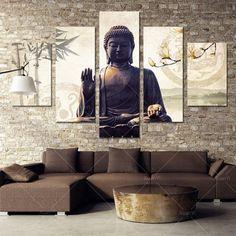 Modern Canvas Home Wall Decor Art Painting Picture Print Unframed World Map Buddha Wall Art, Buddha Decor, Buddha Painting, Spa Room Decor, Home Decor Wall Art, Bedroom Decor, Buda Decoration, Zen Living Rooms, Buddha Living Room