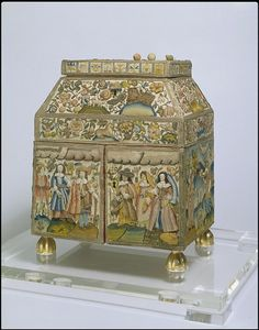 Embroidered Casket made in England, Britain, 1650-1675