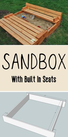 Everyone with a sand box knows that lids are a necessity. But double-duty lids are crazy awesome, especially if they convert to a seat! This easy to build sandbox with built-in seats is a reader favorite and has been built thousands of times. #anawhite #diy #sandbox #kids #kidtoys #outdoorbuilds Woodworking Projects Diy, Woodworking Plans, Toddler Play Yard, Diy Furniture Building, Outdoor Furniture, Diy Home Decor Projects, Outdoor Projects, Box Building, Sandbox