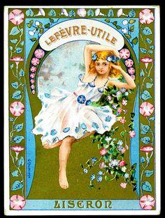 Lefevre Utile - Liseron    Lefevre-Utile Biscuits (Nantes)Flower Girls, c1900-05, Liseron.Artist signed, G.Bussiere