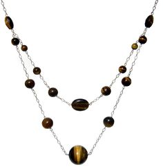 Tiger Eye Round Rice Oval Brown, 925 Sterling Silver Necklace - Handmade - Natural Stones - Jewelry - FREE SHIPPING de ArtGemStones en Etsy