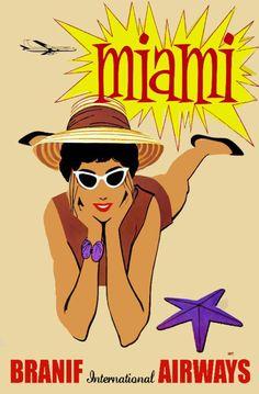Vintage Travel Poster.Miami Beach.Modern Art Decor.Home Interior Design.431