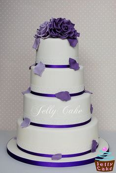 Purple Roses Wedding Cake by www.jellycake.co.uk, via Flickr