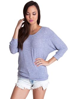 Striped Rayon Dolman Top T12029BL, clothing, clothes, womens clothing, jeans, tops, womens dress