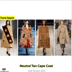 Fashion Trend for FW 2015: Cape. Boxy structure neutral tan cape coat. Creatures of the Wind, Marc Jacobs, Burberry Prorsum and Michael KorsFall Winter 2015. FW15 Fall2015