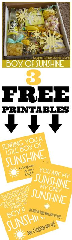 Free printable - Send a Box of Sunshine to brighten someones day! The free printables say you are my sunshine, and other fun sayings. These are great little gift ideas!