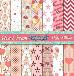 ICE CREAM Digital Paper, Summertime - Seamless pattern - 14pcs 300dpi, paper crafts, card making, scrapbooking, Personal and Commercial use by DigitalMagicShop on Etsy