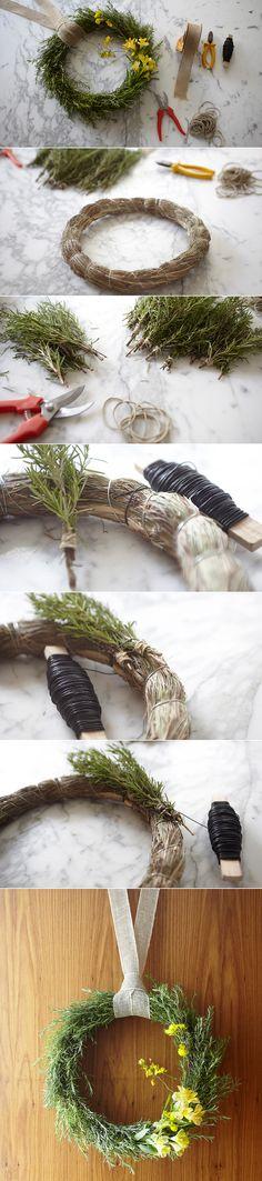 DIY - Guirlanda de alecrim com flores