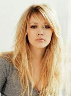 Side Swept bangs with long layered hair looks sassy love this hair