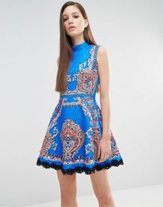 Comino Couture High Neck Skater Dress In Mutli Print with Stud Detail
