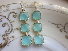 Aqua Blue Earrings Gold Plated - Three Tier Squares - Bridesmaid Earrings - Bridal Earrings. $39.00, via Etsy.