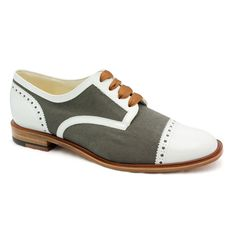 """Robert Clergerie """"Just"""" White Patent/Grey Canvas Oxford"""