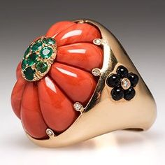 Italian Vintage Cocktail Ring w/ Coral Onyx Emerald & Diamonds in 18K Gold - EraGem