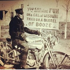 """You can have more fun on a gallon of gasoline than on a barrel of booze. Hd Motorcycles, Antique Motorcycles, Harley Davidson Motorcycles, Motorcycle Quotes, Bike Quotes, Motorcycle Posters, Girl Motorcycle, Biker Chick, Picture On Wood"