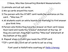 I Have, Who Has Converting Measurements product from Scrappy-Teaching on TeachersNotebook.com
