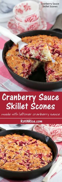 Use your leftover cranberry sauce to make these soft, tender Cranberry Sauce Skillet Scones. They are delicious served with whipped cream and a cup of tea. | http://RotiNRice.com
