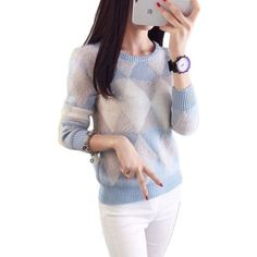 Woman Sweater Pullover 2016 Autumn Winter Fashion O-Neck Plaid Casual Ladies Sweaters Candy Pullovers Pull Femme Sweter Mujer