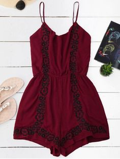 AD : Cami Floral Embroidered Romper - WINE RED   Material: Polyester   Fit Type: Regular   Pattern Type: Floral   Style: Casual   With Belt: No   Weight: 0.2000kg   Package: 1 x Romper