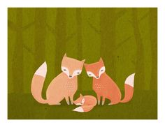 nursery art print. fox family. woodland forest friends in orange and green - LARGE 11 x 14 art print for baby, children, kids room. $30.00, via Etsy.