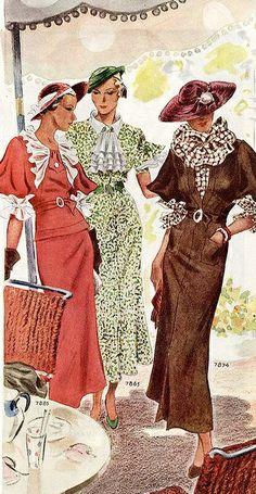 Mid 30s era vintage fashion style art deco looks day wear suit dress coral pink orange ruffle lace floral green white brown belt hat color illustration print ad Reunión de aamigas