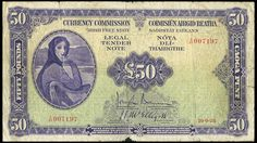Currency Commission, Fifty Pounds, 10 September 1928, Y/01 007197, Brennan-McElligott signatures (LTN 6; Pick 6). Heavily used, edge tears, a 15mm tear at top centre, a 25mm tear at lower centre and a tiny piece out of lower edge, otherwise good to very good, very rare