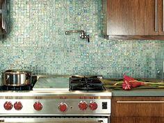 Gorgeous and Green Kitchen Ideas : Rooms : Home & Garden Television. Recycled Glass Backsplash. I've met my backsplash match!