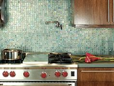 Recycled Glass Tile | ... easy to clean backsplash is made from small tiles of recycled glass