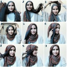 kumpulan gambar tutorial hijab segi empat sederhana terbaru simpel - my ely Islamic Fashion, Muslim Fashion, Hijab Fashion, Style Fashion, Simple Hijab Tutorial, Hijab Style Tutorial, Pashmina Hijab Tutorial, Scarf Tutorial, How To Wear Hijab
