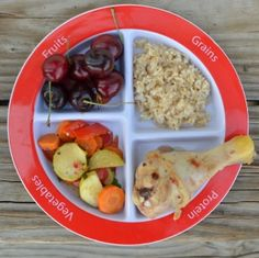 chicken dinner on #myplate Veggies, brown rice, and cherries #healthymeals #menuplans